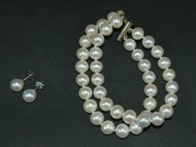Pearl Double Strand Bracelet & Earrings