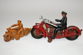 2 Toy Hubley Motorcycle Policeman