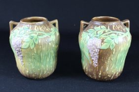 "Pair Of Roseville Pottery ""wisteria"" Vases"