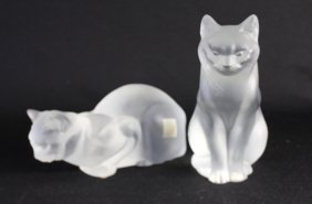 Two Lalique Crystal Cat Figurines