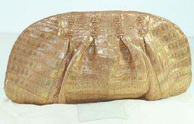 Nancy Gonzalez Gold Crocodile Clutch