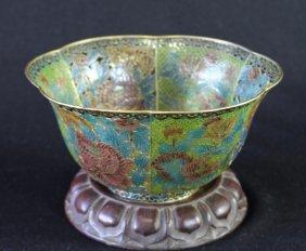 Plique A Jour Enameled Bowl