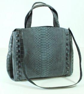 Nancy Gonzalez Gray Crocodile Tote Bag