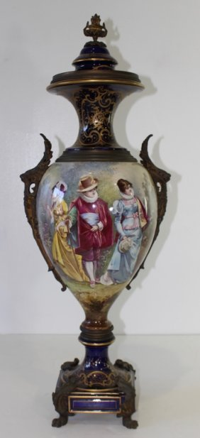 Palatial Size Vase In The Style Of Sevres