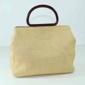 Coco Chanel Woven Straw Handbag