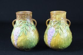 "Two Roseville Pottery ""wisteria"" Vases"