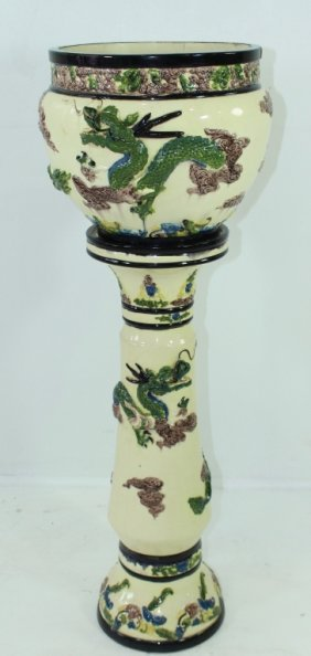 Chinese Majolica Jardiniere And Pedestal