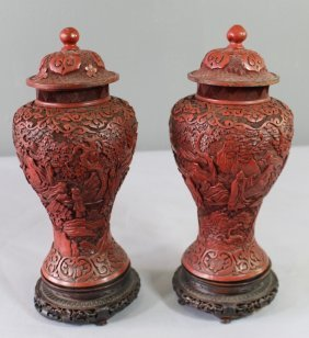 Pair Of Early Carved Cinnabar Covered Jars