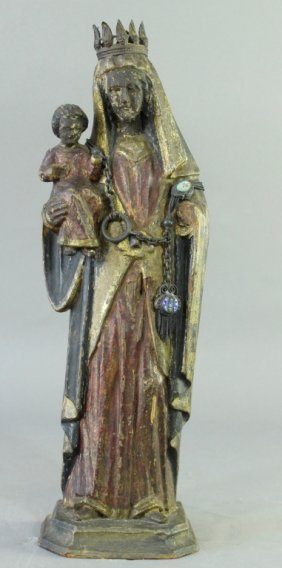 Carved & Polychrome Madonna & Child