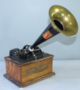 Edison Phonograph With Trumpet Horn
