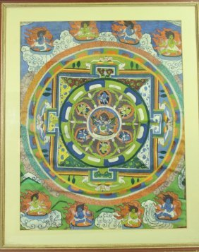 Indian Thangka, Hand Painted On Cloth