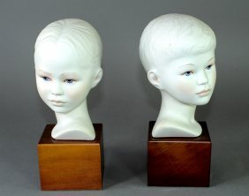 Two Cybis Bisque Porcelain Children's Busts