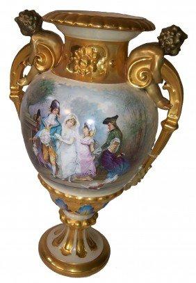 Large 19th C. Sevres Urn W/cupid Handles