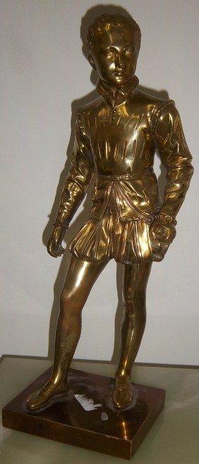 Ea. 20th C. Figural Bronze Of Man Signed Basio