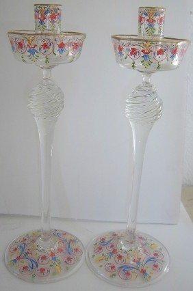 Ca 1900 Italian Handpainted Venetian Candlesticks