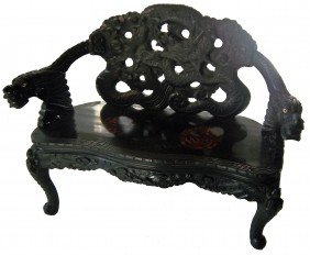 19th C. Detail Carved Oriental Bench With Dragons