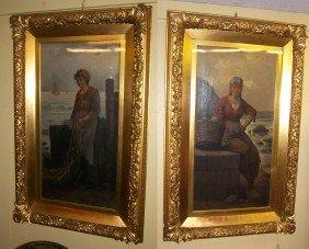 Pr Of 19th C. Italian Paintings Signed F. Albenti