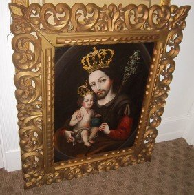 18th C. Spanish School Painting Of Jesus