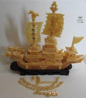 20th C. Yellow Jade Oriental Ship On Wood Base