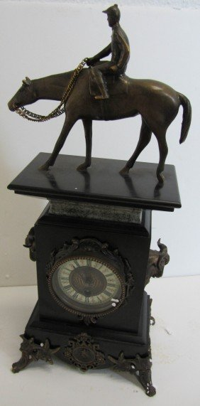 20th C. Marble Mantle Clock With Bronze Jockey