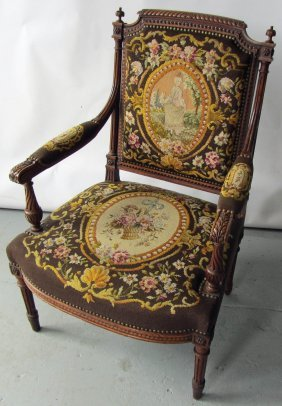 19th C. French Armchair With Needlepoint
