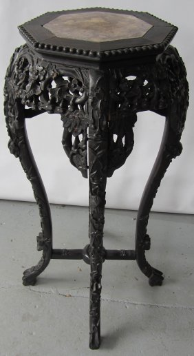 19th C. Teakwood Marbletop Pedestal