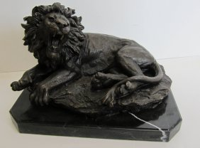 20th C. Bronze Lion On Marble Base