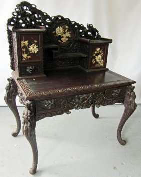 Magnificant Detail Carved Teakwood Writing Desk