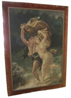 Monumental C1900 Painting On Tapestry Of Lovers