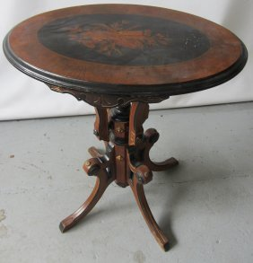 19th C. Am. Victorian Oval Table With Inlaid Top