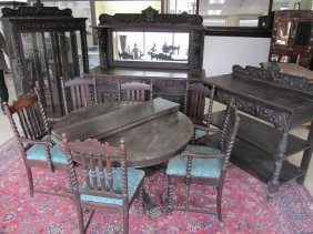 C1890 Am. Quartersawn Oak 10pc. Diningroom Set