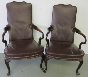 Pr. Mahogany And Leather Armchairs