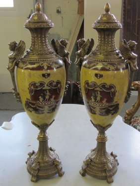 Pr. Large Figural Bronze And Porcelain Urns