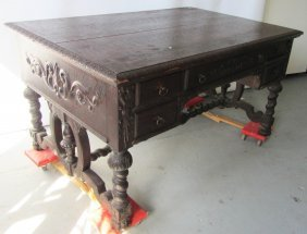 Large C1890 Quartersawn Oak Executive Desk