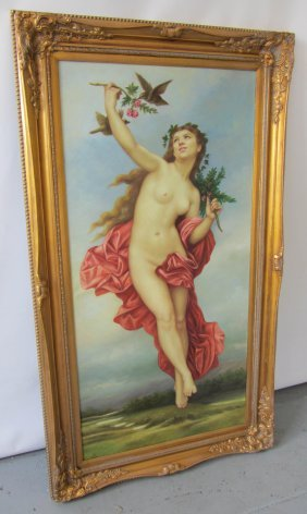 Large Painting Of Art Nouveau Style Nude