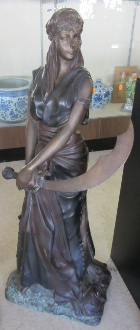 20th C. Bronze Statue Of Egyptian Revial Woman
