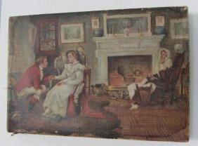 19th C. Oil On Canvas Of Interior Scene