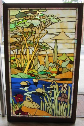 C1900 Stained Glass Window Of Landscape Scene
