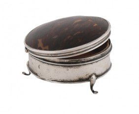 Silver And Tortoiseshell Jewellery Box
