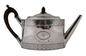George III Bright Cut Silver Teapot