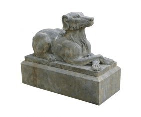 Pair Of Large Carved Stone Canine Reclining Figures