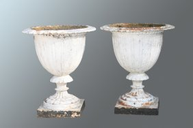 Pair Of Antique Cast Iron Garden Urns