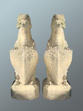 Pair Of Antique Composite Stone Griffins
