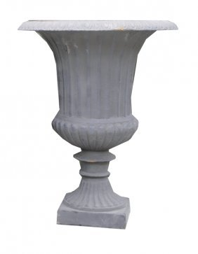 Pair Of Cast Iron Vase Shaped Urns