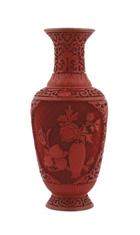 Chinese Cinnabar And Enamelled Vase
