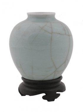 Chinese Qing Dynasty Crackle Glaze Brush Pot