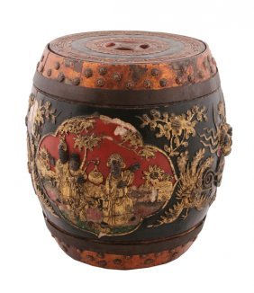 Nineteenth-century Chinese Carved Wood Rice Barrel