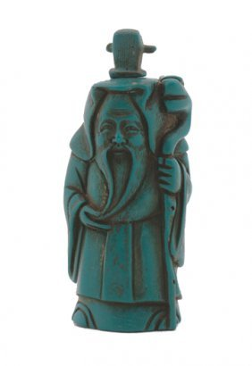 Chinese Hand Carved Turquoise Character Snuff Bott