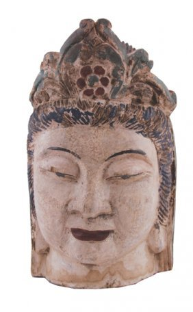 Early Chinese Carved Polychrome Buddha Head