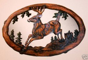 """JUMPING DEER"" -  HAND CARVED WOOD MIRROR"